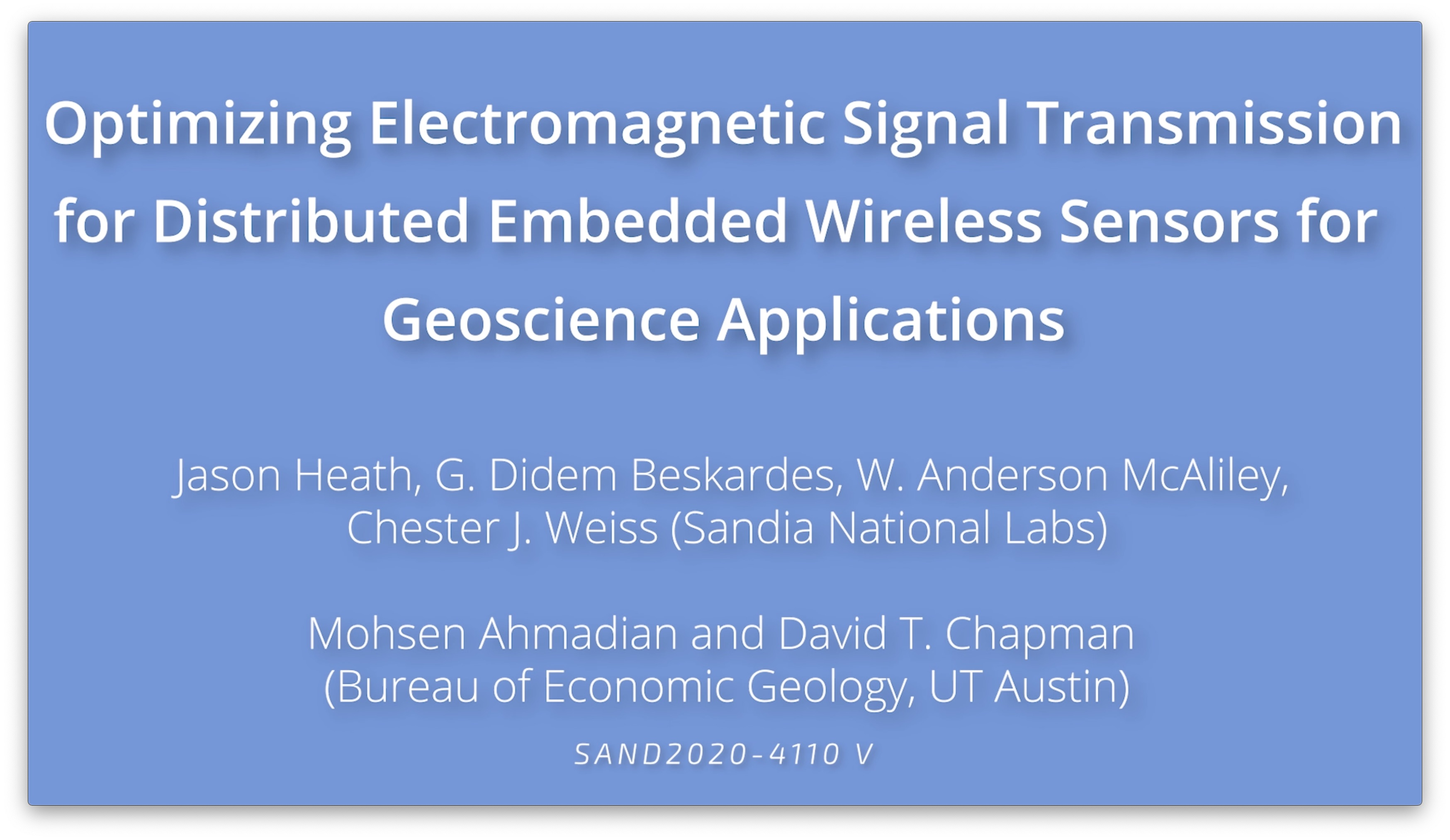 Optimizing Electromagnetic Signal Transmission for Distributed Embedded Wireless Sensors for Geoscience Applications