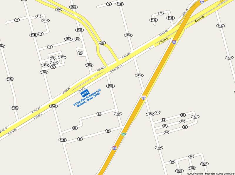location map of the Midland Core Research Center (MCRC)