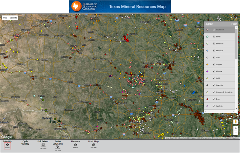 minerals of Texas interactive map