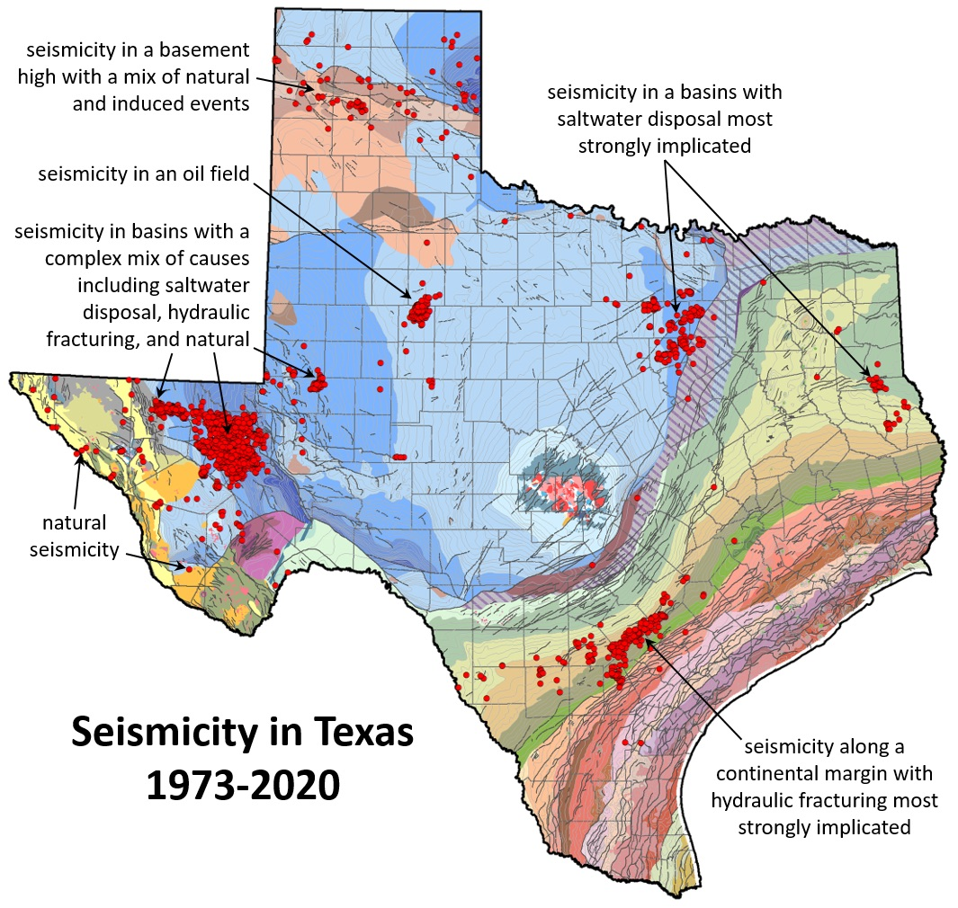 Seismicity in Texas 1973-2020