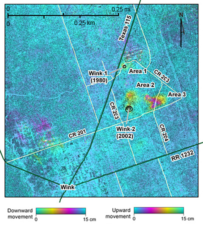 interferogram showing areas undergoing subsidence