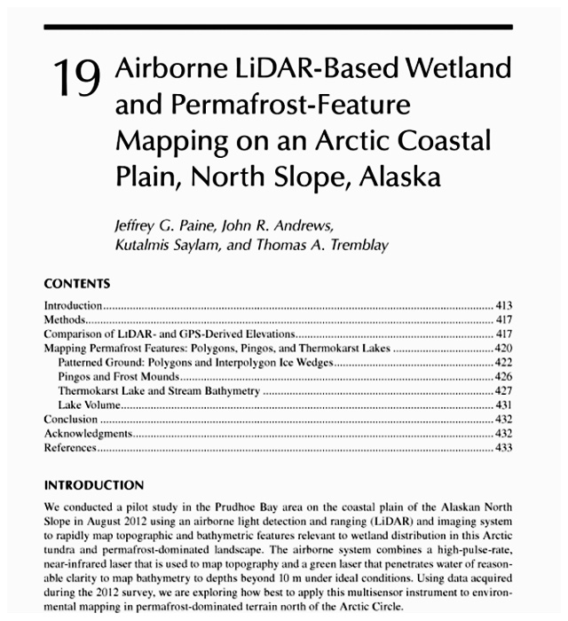 Airborne LiDAR-based wetland and permafrost-feature mapping