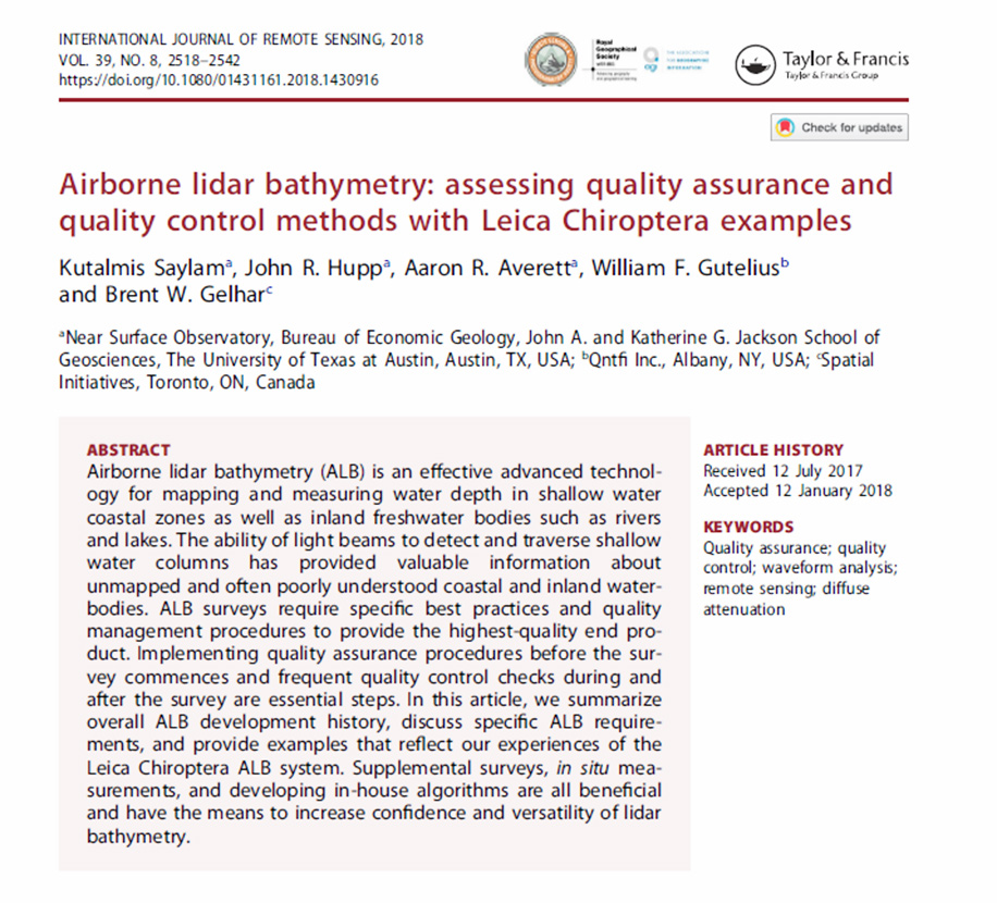 Airborne lidar bathymetry: assessing quality assurance and quality control methods