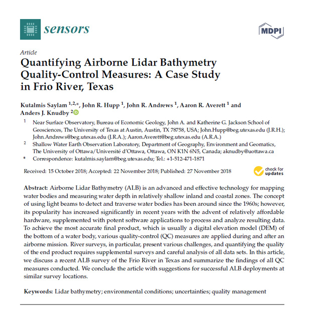 Quantifying Airborne Lidar Bathymetry Quality-Control Measures: A Case Study in Frio River, Texas