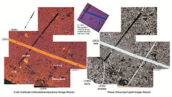Figure 3. Cold-cathode CL, plane light, and EDS element map images of multiple fracture sets in the dolomitic layer. Early, middle and late labels refer to the relative timing of fractures. Phases are labeled albite (a), barite (b), calcite (c), dolomite