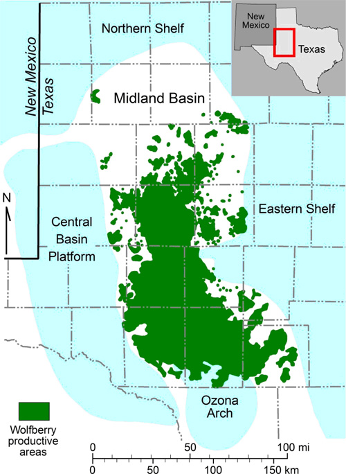 Figure 1. Map of the Midland Basin