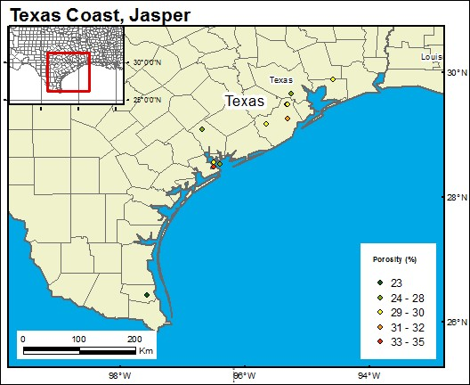 GIS-generated map of the Jasper formation extending across several counties to LA