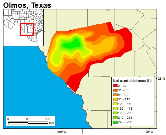 GIS-generated map of the Olmos Formation