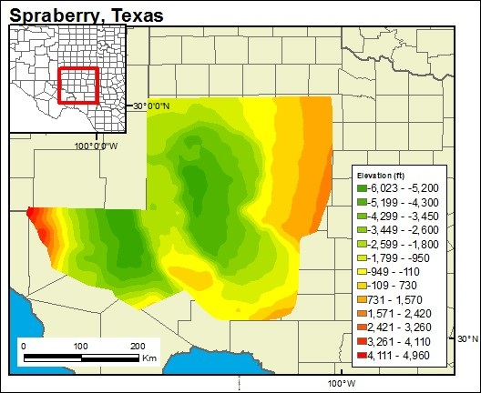 GIS-generated map of the Spraberry Formation