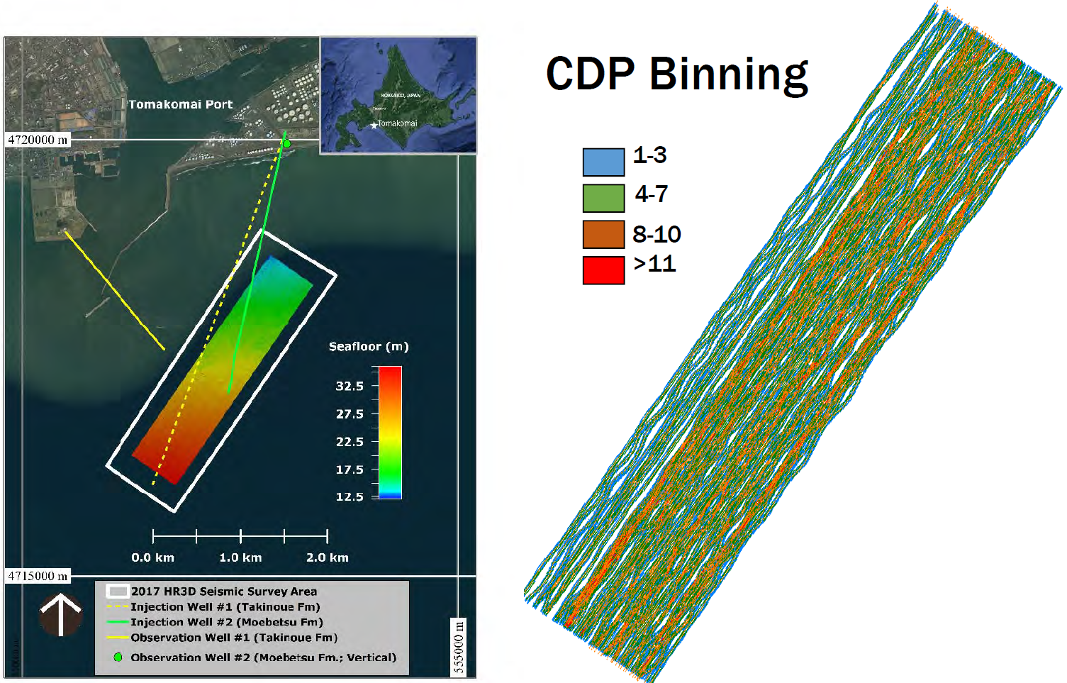CDP binning of HR3D Seismic Data collected offshore of Tomakomai, Japan.