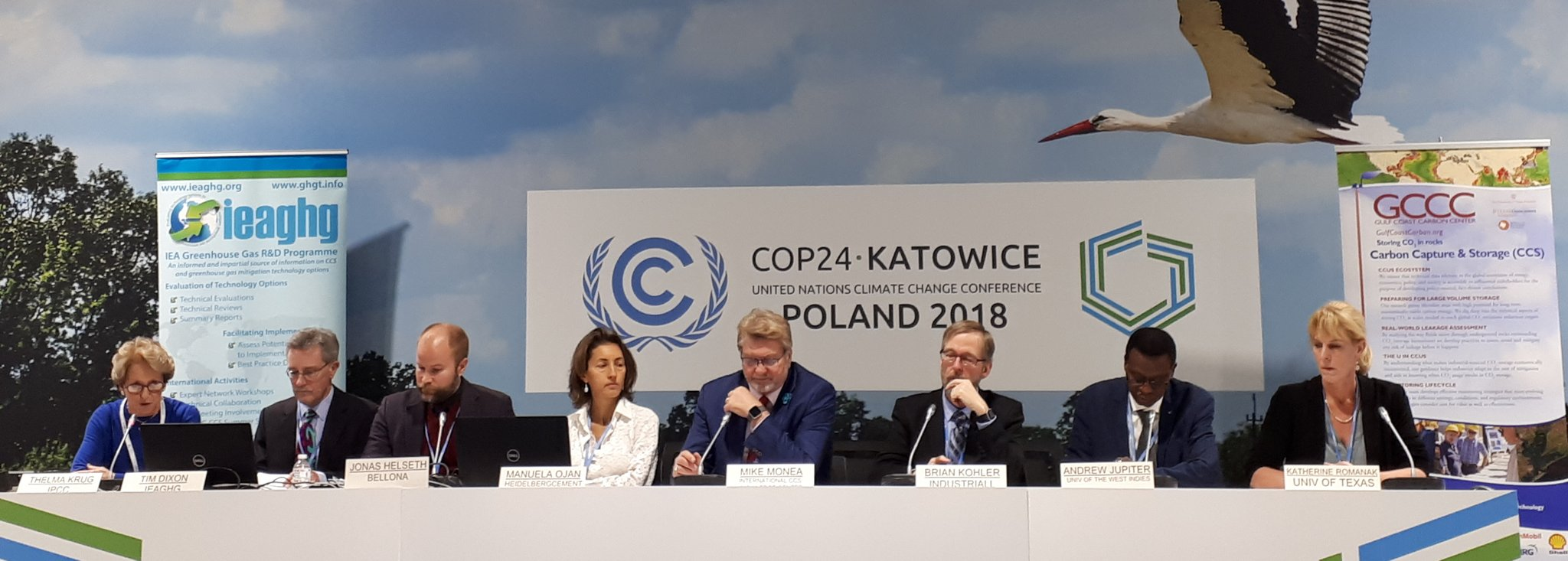 "Photo of the panel at the only CCS-dedicated site event at COP24 titled ""Carbon Capture and Storage (CCS) for decarbonising industry in developed and developing countries."""