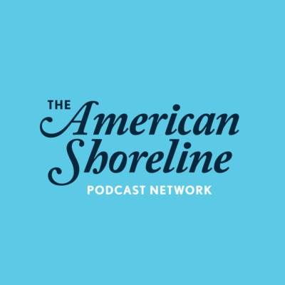 Blue logo of The American Shoreline Podcast Network in long nautical-looking cursive