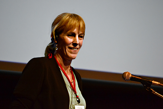 Photo of Katherine Romanak giving a talk about assessing risk at CO2 storage sites in Tokyo, Japan.