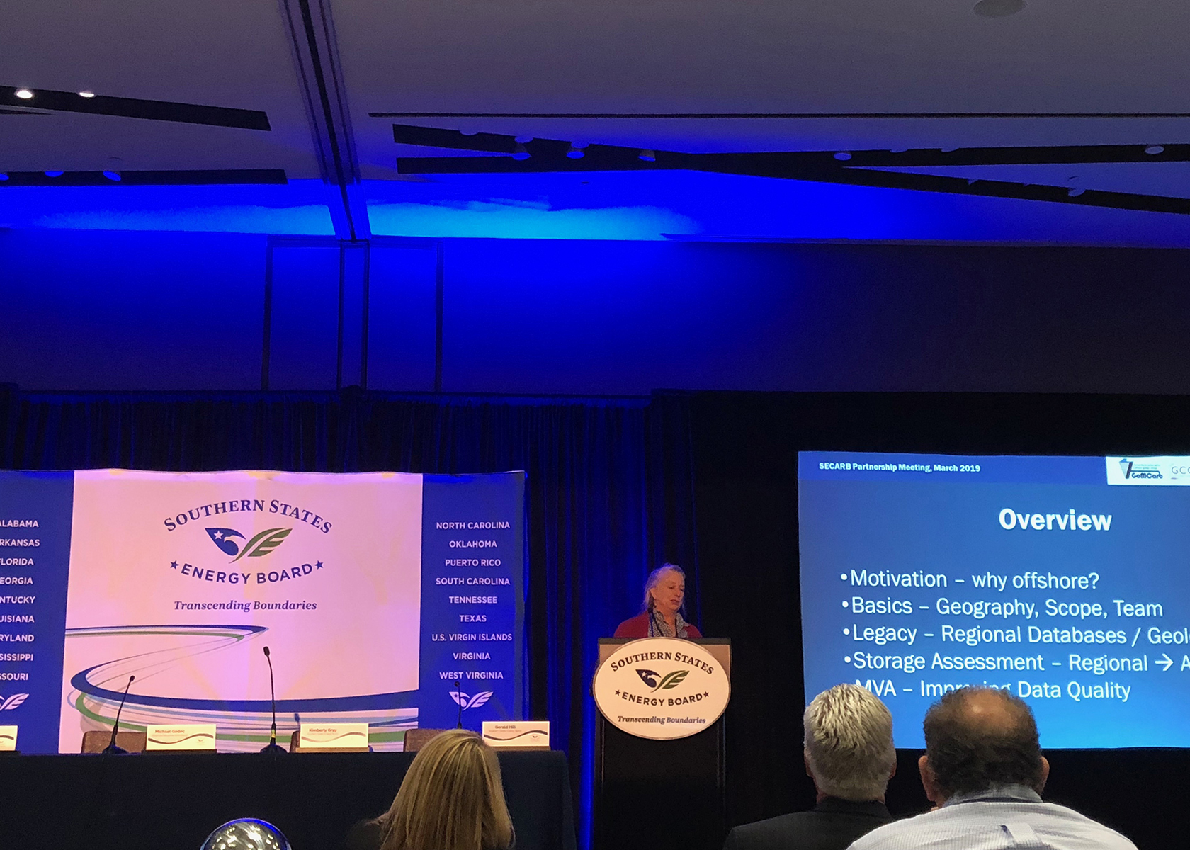 Susan Hovorka presents about the Gulf of Mexico Partnership for Offshore Carbon Storage (GoMCarb) at the  Southeast Regional Carbon Sequestration Partnership (SECARB) 14th Annual Stakeholders' Briefing.