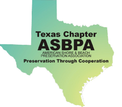 Texas Chapter ASBPA logo of the state outline with a green to yellow gradient towards the shore
