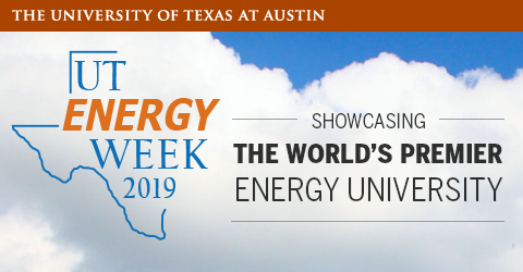"Banner oF UT Energy Week that says the name on the state outline as well as their slogan, ""Showcasing the world's premier energy university"""