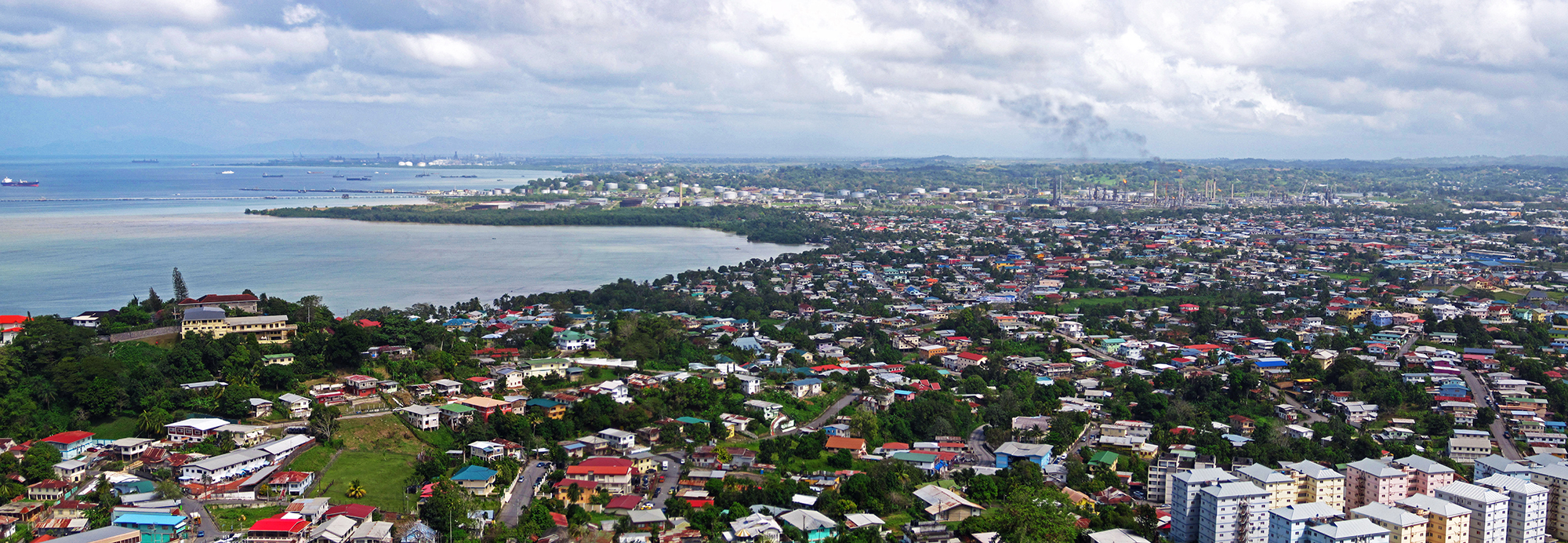 Photo of Trinidad coastline and industrial plant