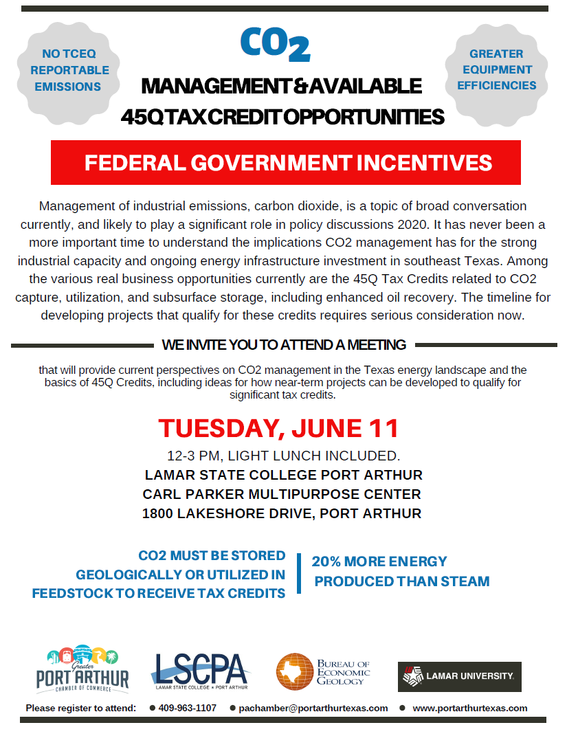 Flyer for the workshop session on 45Q tax credit opportunities for carbon capture