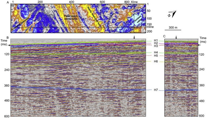 Photo of the processed seismic data showing volumes and interpretation