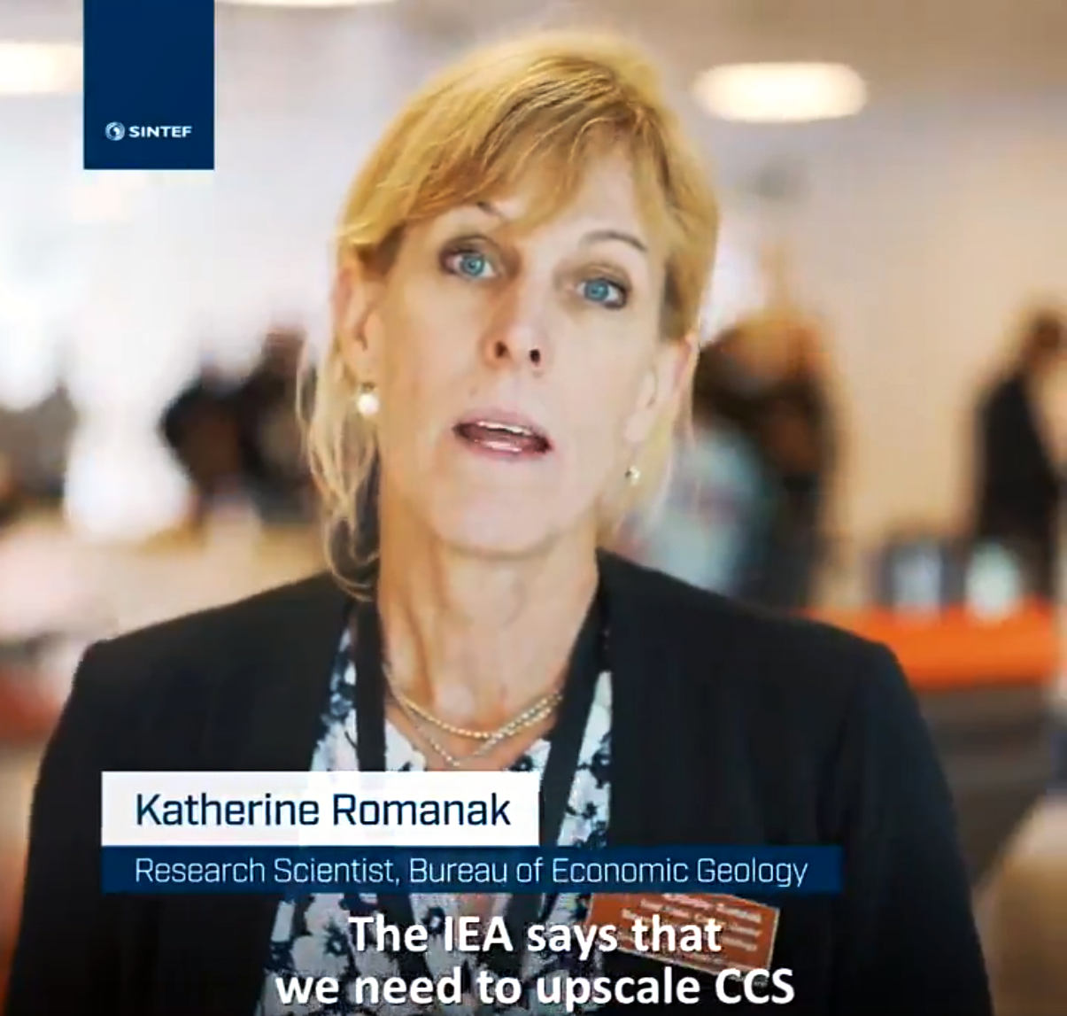A screenshot from the video showing Katherine speaking to the camera