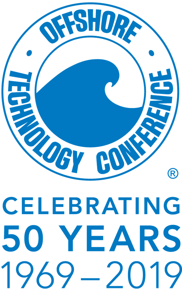 Logo of the 50th anniversary of the OTC, with a blue wave and a circle around it