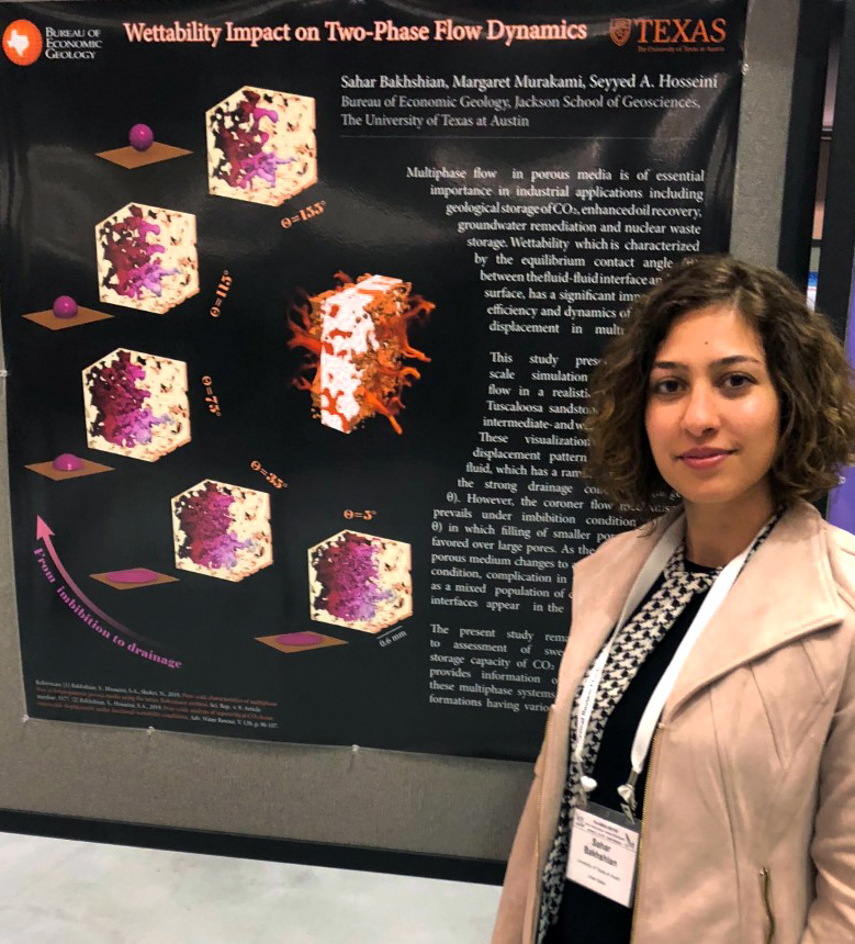 "Image of Sahar with her poster, ""Wettability Impact on Two-Phase Flow Dynamics"" showing that wettability is characterized by the equilibrium contact angle between the fluid-fluid interface. The study's pore-scale simulation display the displacement pattern changes as the imaged sandstone moves from strong to weak wet conditions."