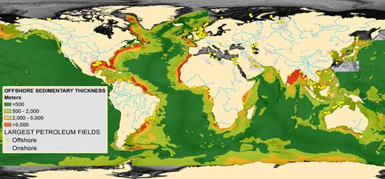 Image of the world's sedimentary basins showing the margins along continents having the thickest sediments--and highest potential for CO2 storage.