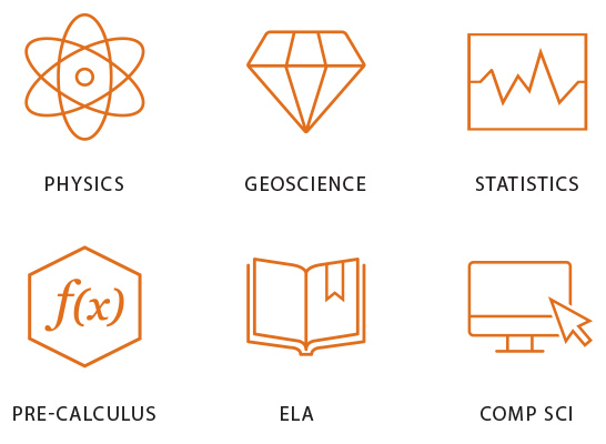 UTexas Onramps program logos: physica, geoscience, statistics, pre-calculus, ela, comp sci