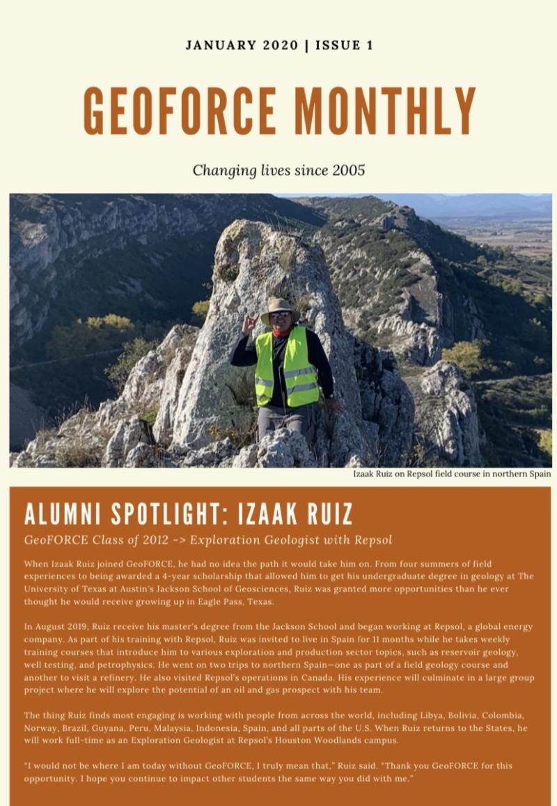 Izaak's feature in the monthly newsletter