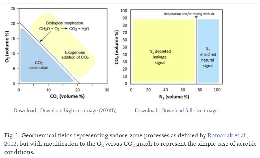image of a graph showing the biological processes that result in CO2 in the environment based on the ratios of different elements
