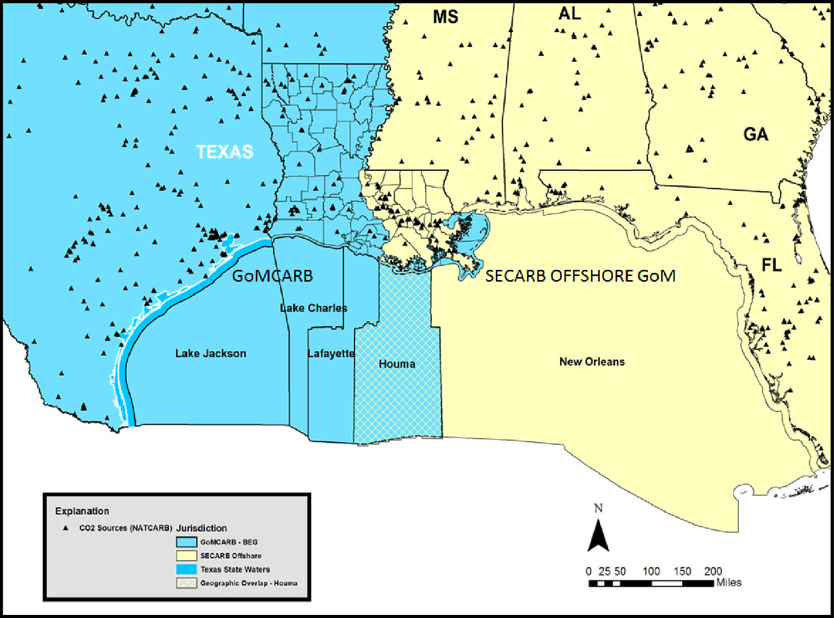 Map of industrial sources of carbon dioxide and offshore areas of potential storage