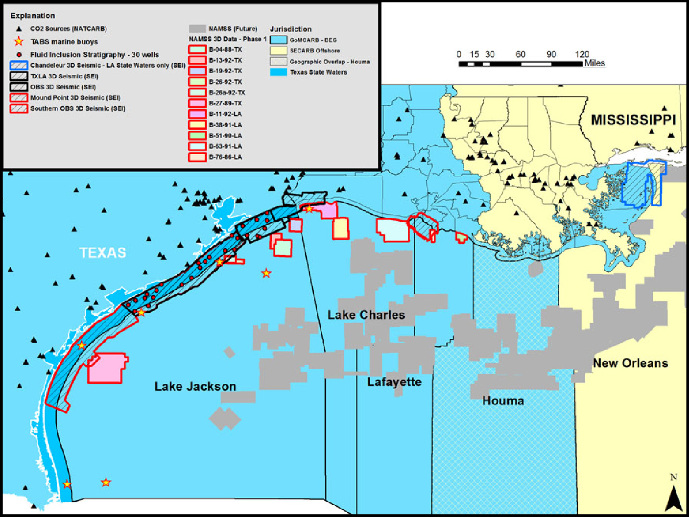 Map of offshore areas already extensively studied