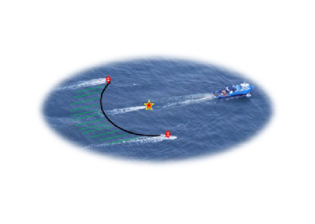 Image of ultra-high-resolution 3D seismic data being deployed and collected by P-cable, streaming behind the boat