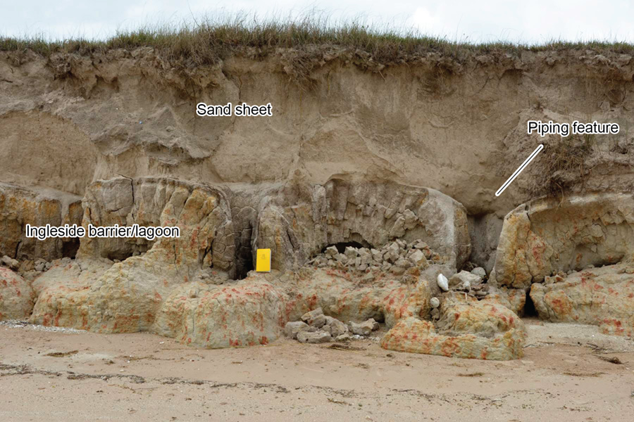 Exposure of Pleistocene Ingleside barrier system sand and mud with soil features