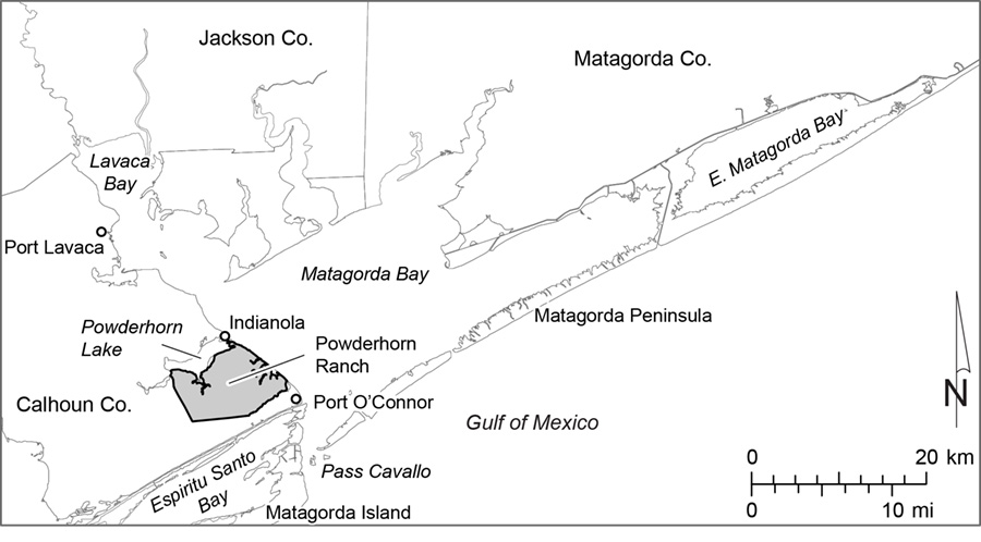 Figure M1. Map of the Matagorda Bay system showing the location of Powderhorn Ranch