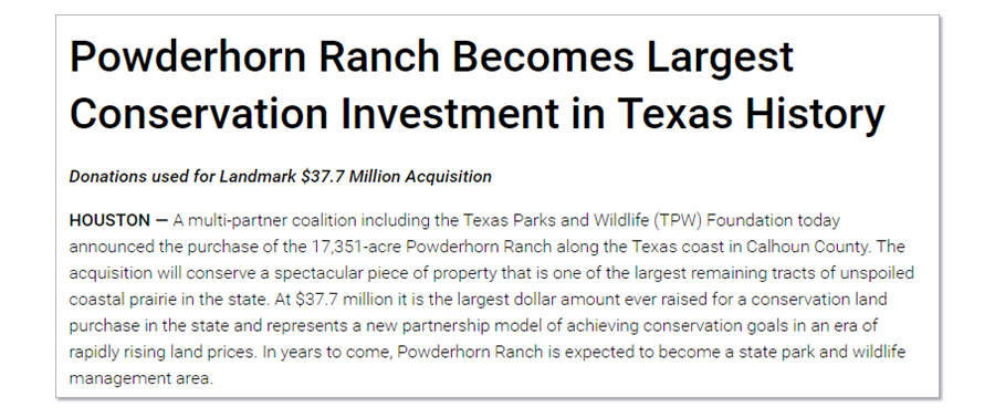 Texas Parks and Wildlife Department (TPWD) announcement of the acquisition of Powderhorn Ranch, August 2014.