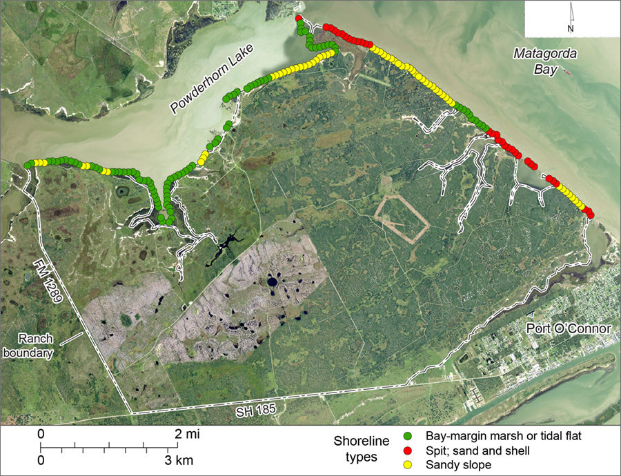 Figure S2. Shoreline types on Powderhorn Ranch along Matagorda Bay and Powderhorn Lake