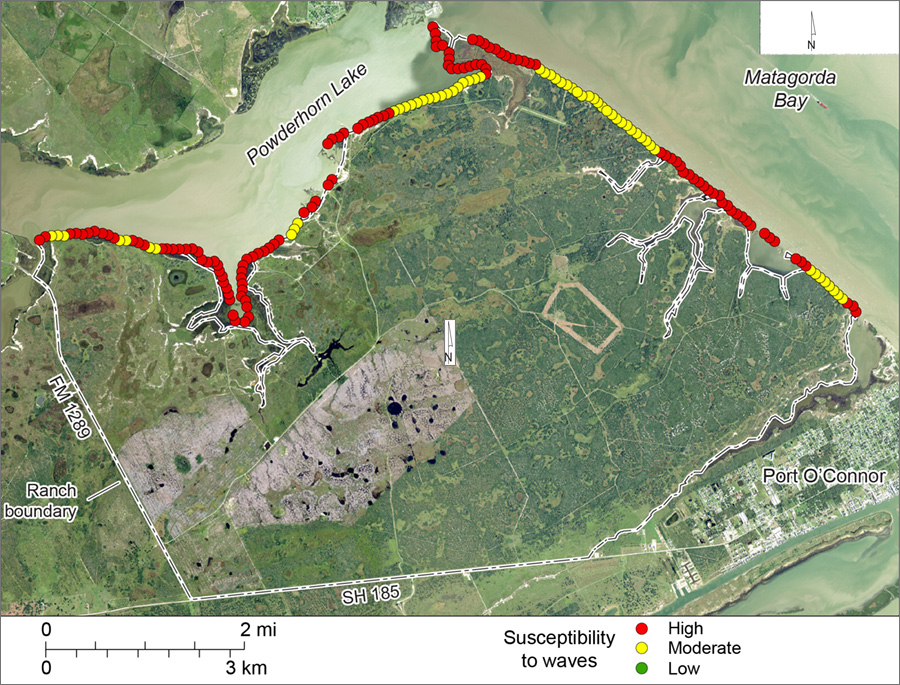 Figure S3. Shoreline susceptibility to non-storm wave activity on Powderhorn Ranch along Matagorda Bay and Powderhorn Lake.