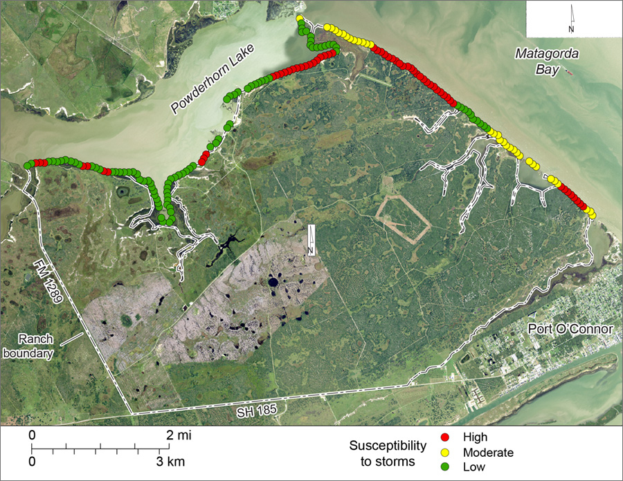 Figure S4. Shoreline susceptibility to storm surge and storm waves on Powderhorn Ranch along Matagorda Bay and Powderhorn Lake.