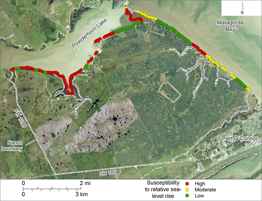 Figure S5. Shoreline susceptibility to relative sea-level rise on Powderhorn Ranch along Matagorda Bay and Powderhorn Lake.