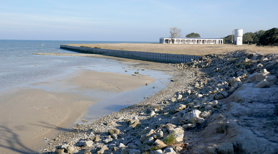Figure S6. Bulkhead and riprap along the Matagorda Bay shoreline at the ranch house.