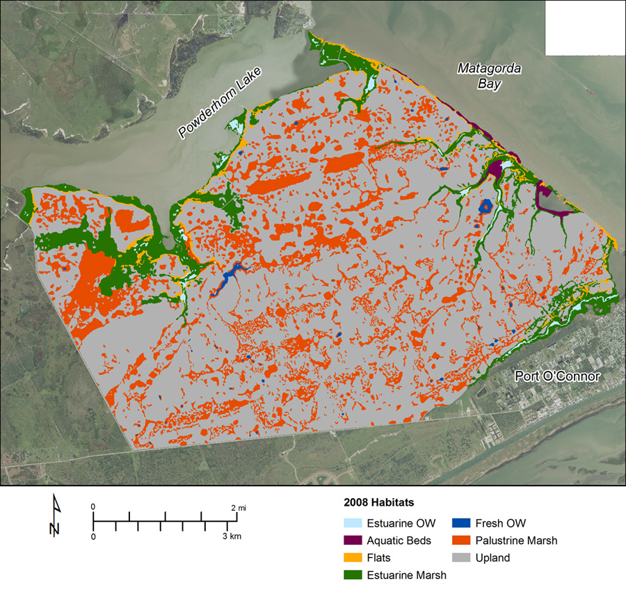 Figure W1. Areal distribution of major habitats on Powderhorn Ranch in 2008.