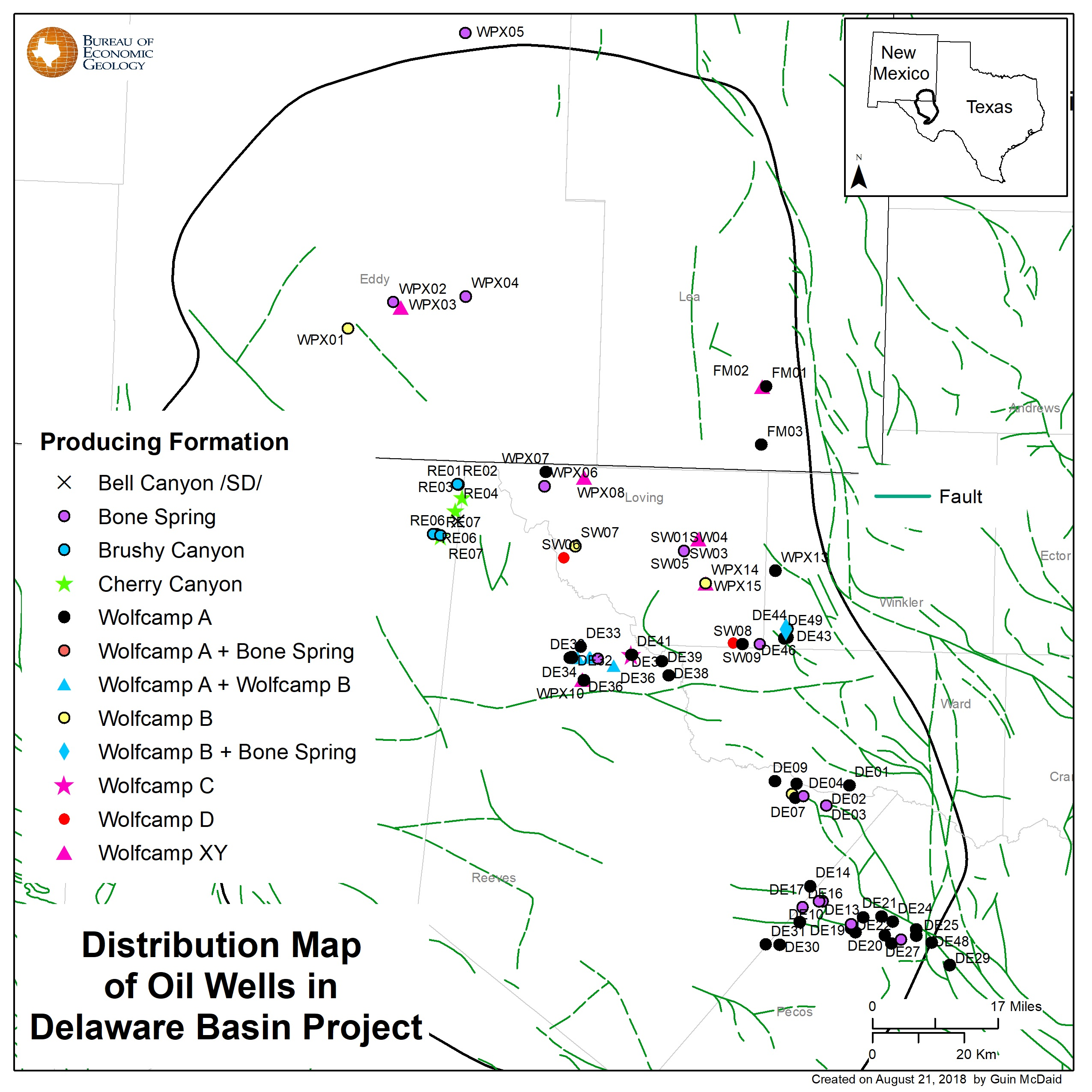 Distribution map of oil wells in Delaware Basin Project