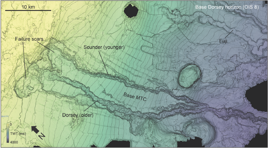 Sediment thickness profile map