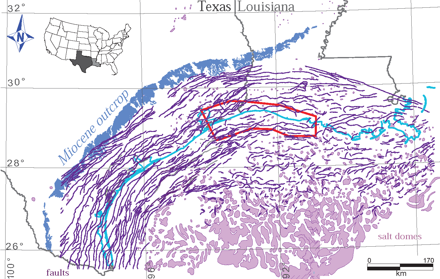 Early Miocene deltaic shorelines offshore Texas/Louisiana