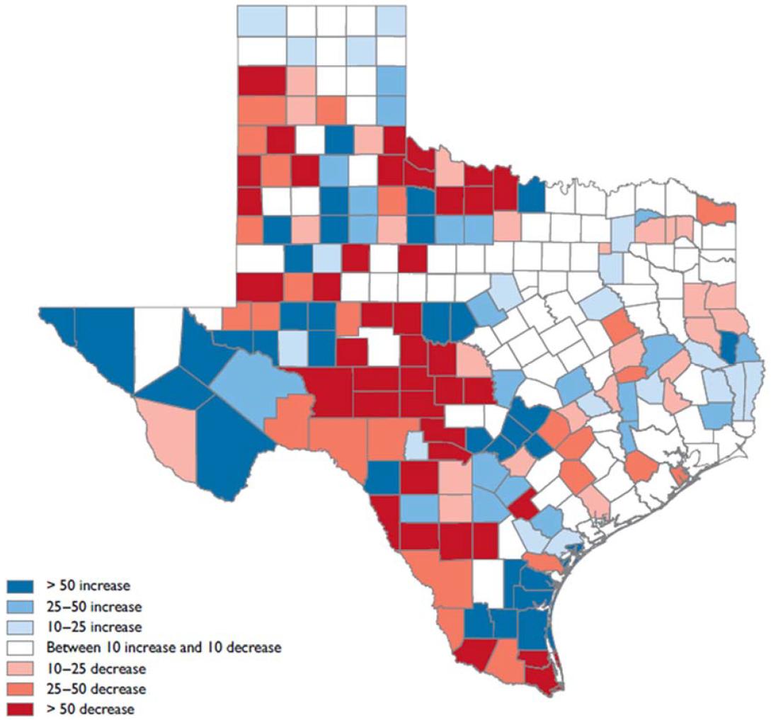 Texas water decreases map